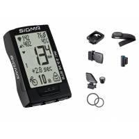 SIGMA Велокомпьютер BC 23.16 STS беспроводной, 23 функции: скорость текущая, средняя, сравнение тек.и средней, максимальная; расстояние за день, общее (байк 1/2/1+2); время в пути; таймер, секундомер; температура воздуха; мощность (вычисляется) мгновенная