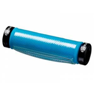 VELO Грипсы VLG-918AD3+GEL COVER, 129 мм, пластик/гель/гелевое покрытие, с 2 грипстопами G1 Lock, двусторонние, чёрно-синие, торг.уп
