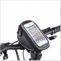 Сумка на руль и вынос L18хH8,5хW11 с отделением для смартфона 18х9см (SAMSUNG, IPHONE, HTC), крепление на липучках, материал 300D влагостойкий, светоотражающий кант