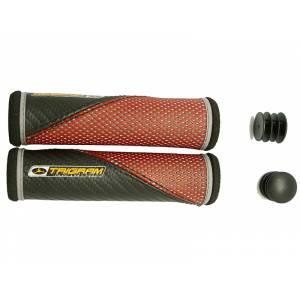 TRIGRAM Грипсы GR-M5, 128мм, полиуретан / губчатая кожа, с заглушками, чёрно-красные