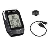 SIGMA велокомпьютер ROX GPS 7.0 чёрный: навигация по треку, сравнение скоростей, расстояние, температура, высота, дисплей ETA (часы/таймер/расстояние), автоматическое перекл. Этапов (по расстоянию, времени, калориям), ручное перекл. Этапов, график профиля