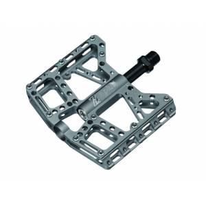 Z PLUS Педали Z-1009, DH/BMX, алюминий, CNC-обработка, ось Cr-Mo, сменные стальные пины, промподшипники, 100х115х19мм, 380г, серые