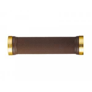 """PROPALM Грипсы HY-607EP, 120мм, с 2 грипстопами, поверхность """"dimond"""", коричневый/золото, с заглушками, с упаковкой"""