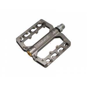Педали mlg-CK539 алюминиевые CNC, 90х105х7мм, ось CrMo, 3 промподшипника, сменные шипы, вес 344г серые, в торг.уп