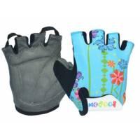 Перчатки 223-4 детские, микрофибра / лайкра, S/M(7,8х12,5см), голубые с цветами