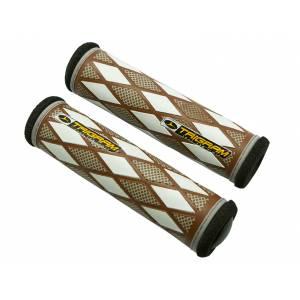 TRIGRAM Грипсы GC2C, 128мм, полиуретан / губчатая кожа, с заглушками, бело-коричневые