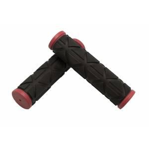 VELO Грипсы VLG-172D2,123мм, Kraton/гель, с закрытым концом, красно-черные