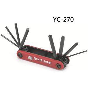 BIKE HAND YC-270 Набор инструментов складной: шестигранники 2/2.5/3/4/5/6, отвёртки +/-