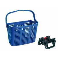 Корзина BELLELLI PLAZA передняя пластиковая с быстросъёмным креплением на руль 20-32мм, синяя. Макс. нагрузка 5 кг