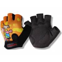 Перчатки HP10 детские, ладонь 55% полиэстер, 45% виниловая кожа, амортизирующие вставки, защита от соскальзывания, тыльная сторона с теплоотводящим принтом, L(9х12,5см), оранжевые с дракончиком
