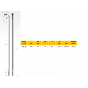 PILLAR Спицы PSR 14, 2,0мм 14GX258 мм, серебристые