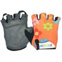 Перчатки 223-1 детские, микрофибра / лайкра, S/M(7,8х12,5см), оранжевые с цветами