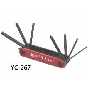 BIKE HAND YC-267 Набор инструментов складной: шестигранники 2/3/4/5/6мм, отвёртки +/-, в торг.уп.