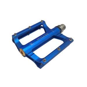 Педали mlg-AX09 алюминиевые CNC, 91х87х18мм, ось CrMo, 1 подшипник + 1 втулка скольжения, сменные шипы, вес 346г/пара, синие, в торг.уп