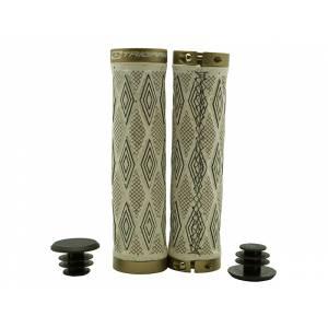 TRIGRAM Грипсы G20W, 129мм, материал с пробковой крошкой, с 2 алюм. грипстопами, с заглушками, бело-коричневые