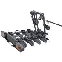 """Peruzzo Автобагажник на фаркоп PURE INSTINCT, сталь, для 4 в-дов, суммарно до 60 кг, допускаются рамы 12-19"""", колёсная база до 1250мм, оснащён тросовым замком для фиксации велосипедов на багажнике и вне его, оснащён омологированной панелью заднего св"""