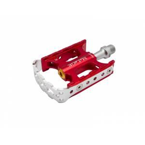 Педали mlg-AF01C алюминиевые CNC, 76х67х23мм, ось CrMo, 1 шариковый подшипник + 1 подшипник скольжения, вес 294г красные, в торг.уп