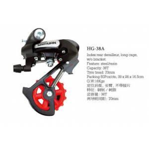 Переключатель задний HG-38A дискретный длиная лапка, ёмкость 36T, крепление на петух, сталь/пластик, в торг.уп