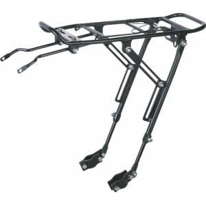 """Багажник KW-667-01, 26-29"""", алюминий, крепится на перья вилки, совместим с диск.торм., телескопические стойки, с пружиной, чёрный"""