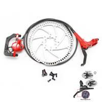 TEKTRO Тормоз дисковый гидравл. GEMINI (HD-M500) задний, г/л 1450мм, правая ручка, IS, ротор 180мм, красный калипер/чёрная ручка и г/л