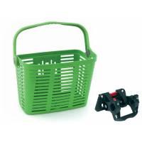 Корзина BELLELLI PLAZA передняя пластиковая с быстросъёмным креплением на руль 20-32мм, зелёная. Макс. нагрузка 5 кг