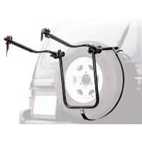 Peruzzo Автобагажник на запаску BIKE CARRIER 4x4, сталь, труба D:25 мм, для 2 в-дов весом до 15кг, фиксация велосипеда за верхнюю трубу рамы (max D:60 мм), цвет: чёрный, упаковка-термоплёнка