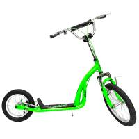 "Самокат OLIMP 16/12"" GREEN, рама: Hi-Ten, обода: Al, тормоз: V-brake, колёса 16/12"", подножка, макс.нагрузка 65 кг"